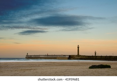 Whitby beach and pier