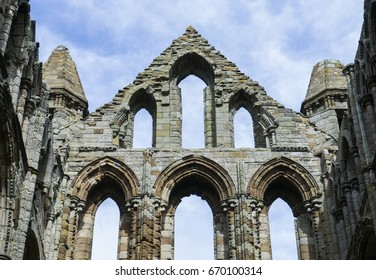 Whitby, North Yorkshire, England - July 1, 2017:,UK - Whitby Abbey on a beautiful sunny day in the summer, Ruins of Benedictine monastery