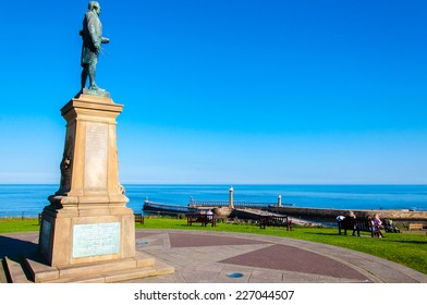 Whitby, North Yorkshire, UK - October 12, 2014: John Cook Memorial in Whitby, England.Whitby is a seaside town and port in North Yorkshire, UK