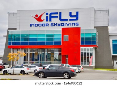 Whitby, Ontario, Canada - October 22, 2018: Front of iFly indoor skydiving building in Whitby.