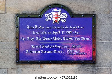 WHITBY, UK - JUNE 29, 2016: Commemorative plaque at a historical bridge, York, UK