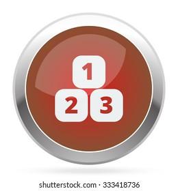 White 123 Blocks icon on red web app button