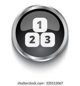 White 123 Blocks symbol on black web button