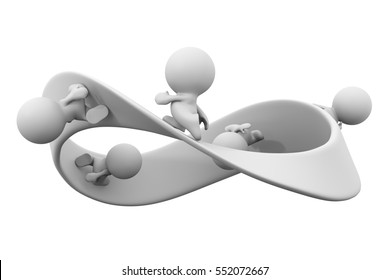 white 3d characters running along a mobius strip (3d illustration)