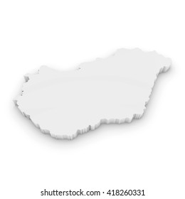 White 3D Illustration Map Outline of Hungary Isolated on White