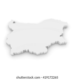 White 3D Illustration Map Outline of Bulgaria Isolated on White