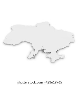 White 3D Illustration Map Outline of Ukraine Isolated on White
