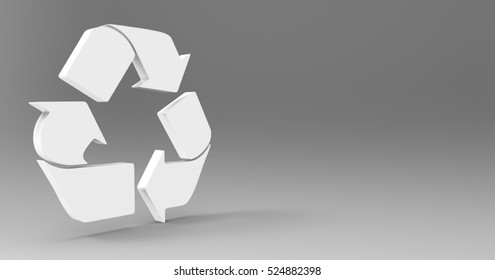White 3D Illustration Of A Recycle Sign Symbol On A Light Masked Transparent Background