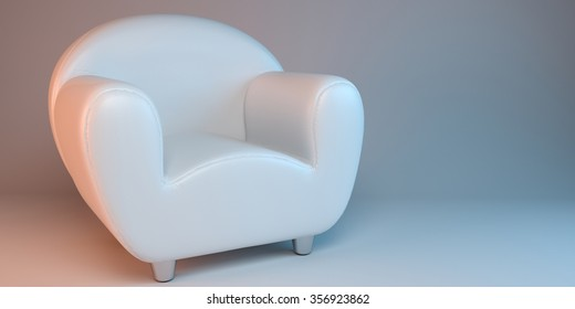 white 3D leather armchair