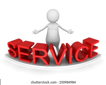 white 3d man behind red SERVICE word. 3d render illustration