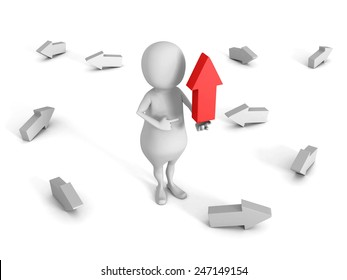 white 3d man with big red up pointing arrow . 3d render illustration