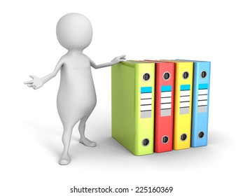 white 3d man with colorful office ring binders. 3d render illustration