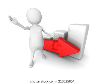 white 3d man presenting successful business graph with arrow. 3d render illustration
