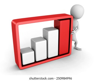 white 3d man with red growing business bar chart. success concept 3d render illustration