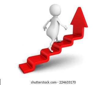 white 3d man steps up on success ladder arrow. 3d render illustration