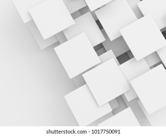 White 3d overlapping squares. 3d render