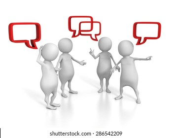 White 3d People Talking With Speech Bubbles. 3d Render Illustration