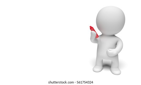 white 3d person writing with a big red pen (3D illustration isolated on a white background)