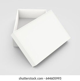 white 3d rendering blank box, isolated gray background