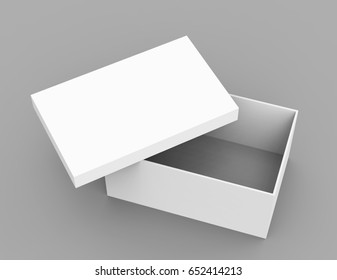 white 3d rendering blank open box, isolated gray background