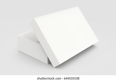 white 3d rendering opened blank box, isolated gray background