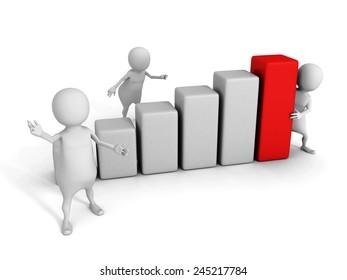 white 3d team with growing bar chart diagram. success business teamwork concept 3d render illustration