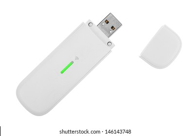 White 3g usb wireless mobile modem isolated on white