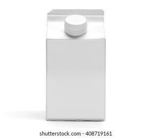 A white 500 ml milk box mockup front view. A blank square aseptic container with gable for drinks, with original shadow on white background.