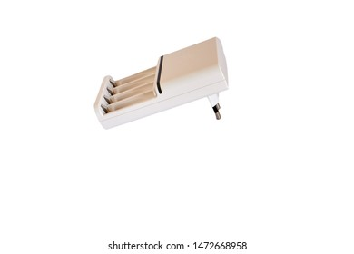 White AA and AAA rechargeable battery charger, on white background