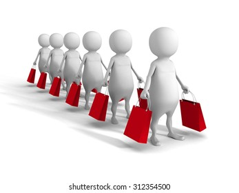 White Abstract 3d People With Shopping Bags. Sale Concept. 3d Render Illustration