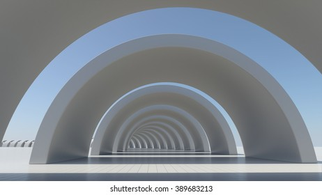 White abstract architecture construction