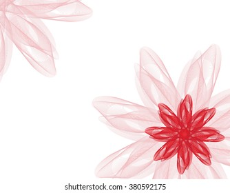 White abstract background - red flower