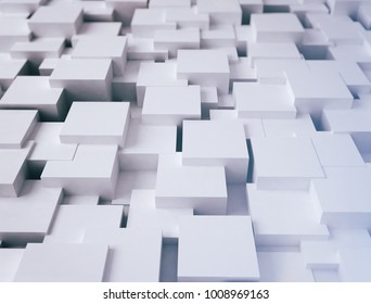 White abstract cubes surface 3d illustration