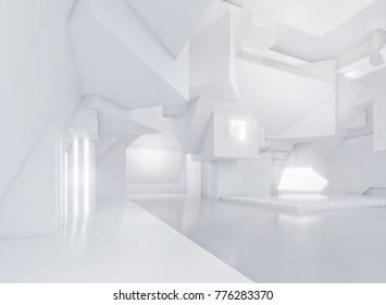 White abstract interior of modern empty open space with lights concept. 3D illustration