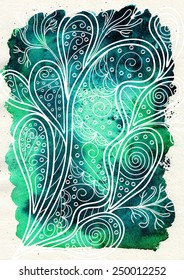 White abstract ornament on a green watercolor background