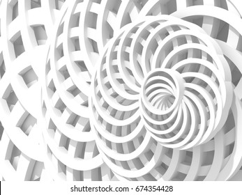 White Abstract Round Shapes Pattern Architecture Background. 3d Render Illustration