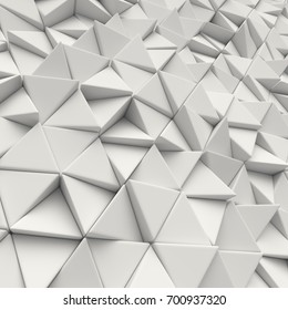 White abstract triangles backdrop. 3d rendering geometric polygons, as tile wall. Interior room
