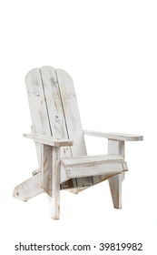 A white adirondack chair on a white background