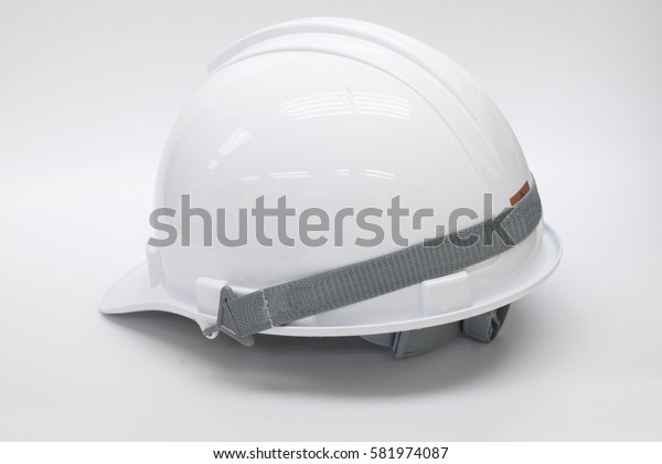 white adjustable safety helmet on the white background with back view