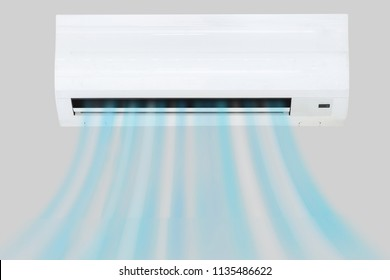 White Air Conditioner On Wall In Living Room.