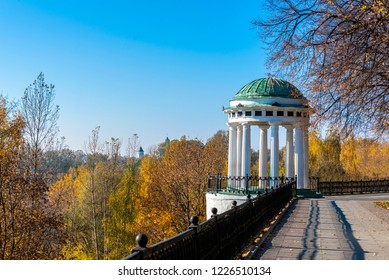 White air Rotunda on the high Bank of the Volga river in ancient russia town of Yaroslavl