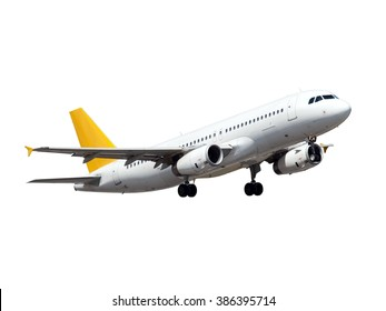 White aircraft. This plane with Gear and yellow Tail.