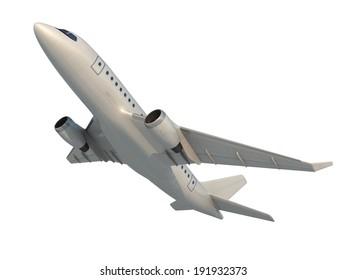 White Airplane, 3d render