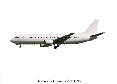 White airplane isolated on white background