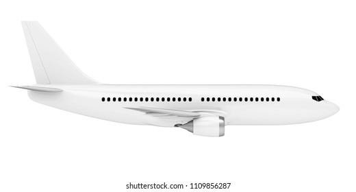 White Airplane Isolated (side view). 3D rendering