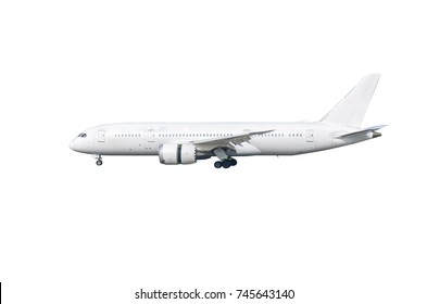 White airplane with wheels and reverse thrust set isolated on white background