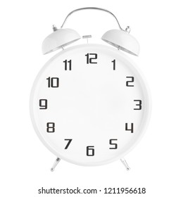 White alarm clock with no hands isolated on white background
