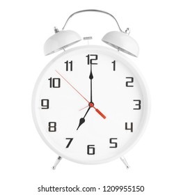 White alarm clock showing seven o'clock isolated on white background. Twin bell clock alarm clock isolated on white background