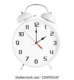 White alarm clock showing two o'clock isolated on white background. Twin bell clock alarm clock isolated on white background