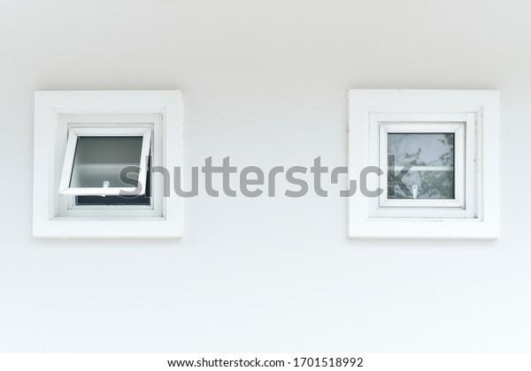 white aluminium frame windows background.